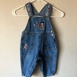 Vintage Mickey Mouse Baby Jean Overalls size 18 m